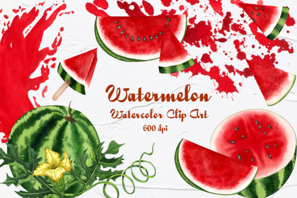 Watermelon Watercolor Clip Art Graphic Illustrations By BarvArt