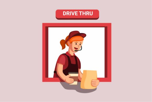 Print on Demand: Drive Thru Fast Food Give Order Vector Graphic Illustrations By aryo.hadi