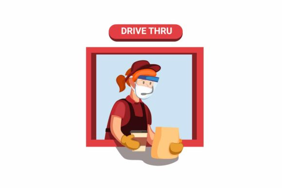 Print on Demand: Drive Thru Worker Girl Wear Face Shield Graphic Illustrations By aryo.hadi