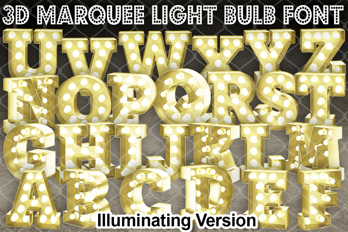 3D Marquee Bulb Font Illuminating SVG File