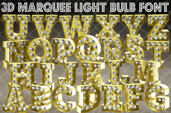 Print on Demand: 3D Marquee Light Bulb Alphabet a-Z Graphic Crafts By V-Design Creator