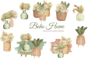 Print on Demand: Boho Indoor Plants Watercolor Clipart Graphic Illustrations By s.yanyeva