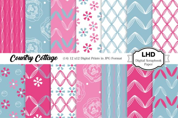 Country Cottage Patterned Digital Papers Graphic Patterns By LeskaHamatyDesign