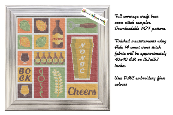 Craft Beer Cross Stitch Sampler Pattern Graphic Cross Stitch Patterns By hancockshouseofhappy - Image 3