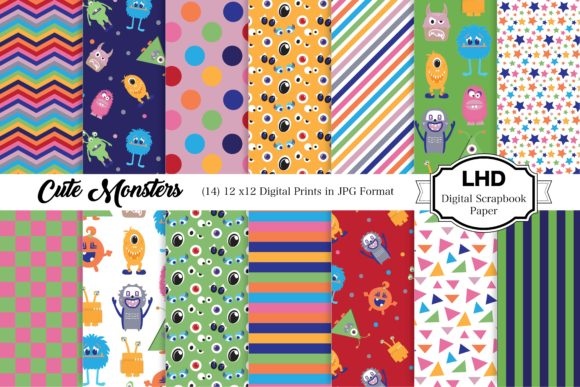 Cute Monsters Digital Paper Pack Graphic Patterns By LeskaHamatyDesign