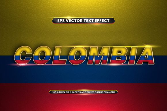 Editable Text Effect - Colombia Words Graphic Add-ons By rahmaalkhansa