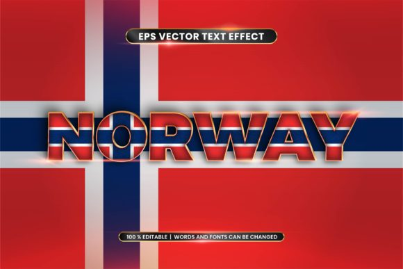 Editable Text Effect - Norway with Flag Graphic Add-ons By rahmaalkhansa