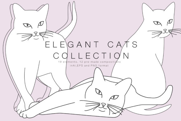 Elegant Cats Collection Graphic Objects By Vera Vero