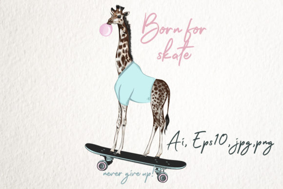 Fashion Hipster Vector Giraffe Graphic Illustrations By fleurartmariia