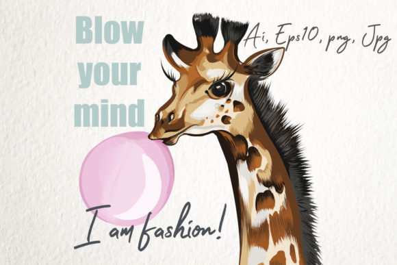 Fashion Vector Illustration with Giraffe Graphic Illustrations By fleurartmariia