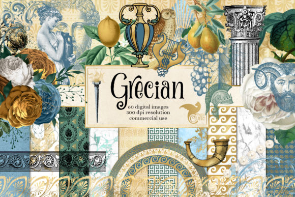 Print on Demand: Grecian Digital Scrapbook Kit Graphic Illustrations By Digital Curio