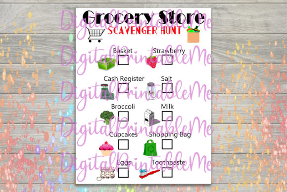 Print on Demand: Grocery Store Scavenger Hunt Kids Game Graphic Crafts By DigitalPrintableMe