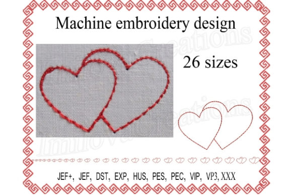 Hearts Valentine's Day Embroidery Design By ImilovaCreations