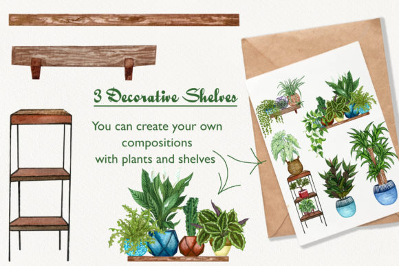 House Plants Watercolor Clip Art Graphic Illustrations By BarvArt - Image 4