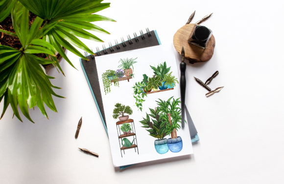 House Plants Watercolor Clip Art Graphic Illustrations By BarvArt - Image 7