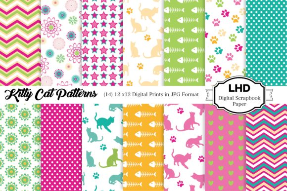 Kitty Cat Digital Paper Graphic Patterns By LeskaHamatyDesign