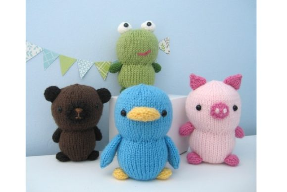 Knit Animal Friends Pattern Set Graphic Knitting Patterns By Amy Gaines Amigurumi Patterns - Image 1