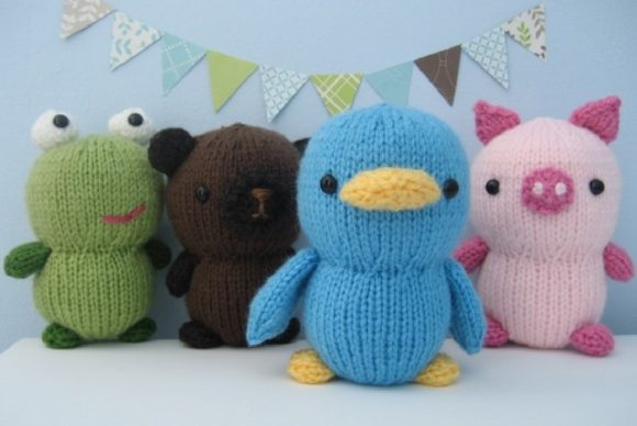 Knit Animal Friends Pattern Set Graphic Knitting Patterns By Amy Gaines Amigurumi Patterns - Image 4