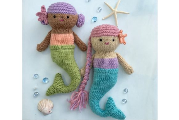 Knit Mermaid Dolls Pattern Graphic Knitting Patterns By Amy Gaines Amigurumi Patterns