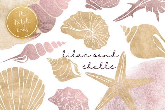 Print on Demand: Lilac & Sand Seashell Clipart Set Graphic Illustrations By daphnepopuliers