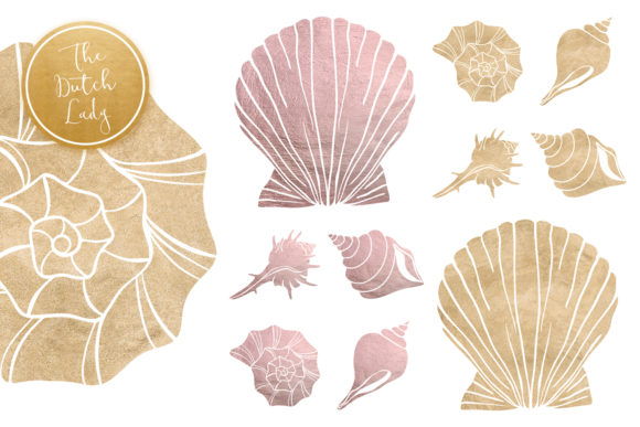 Print on Demand: Lilac & Sand Seashell Clipart Set Graphic Illustrations By daphnepopuliers - Image 5