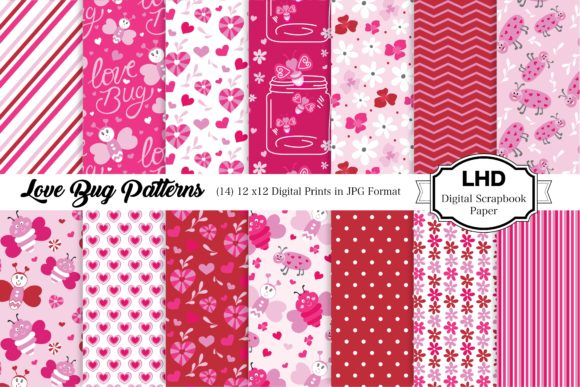 Love Bug Patterns - Digital Paper Pack Graphic Patterns By LeskaHamatyDesign