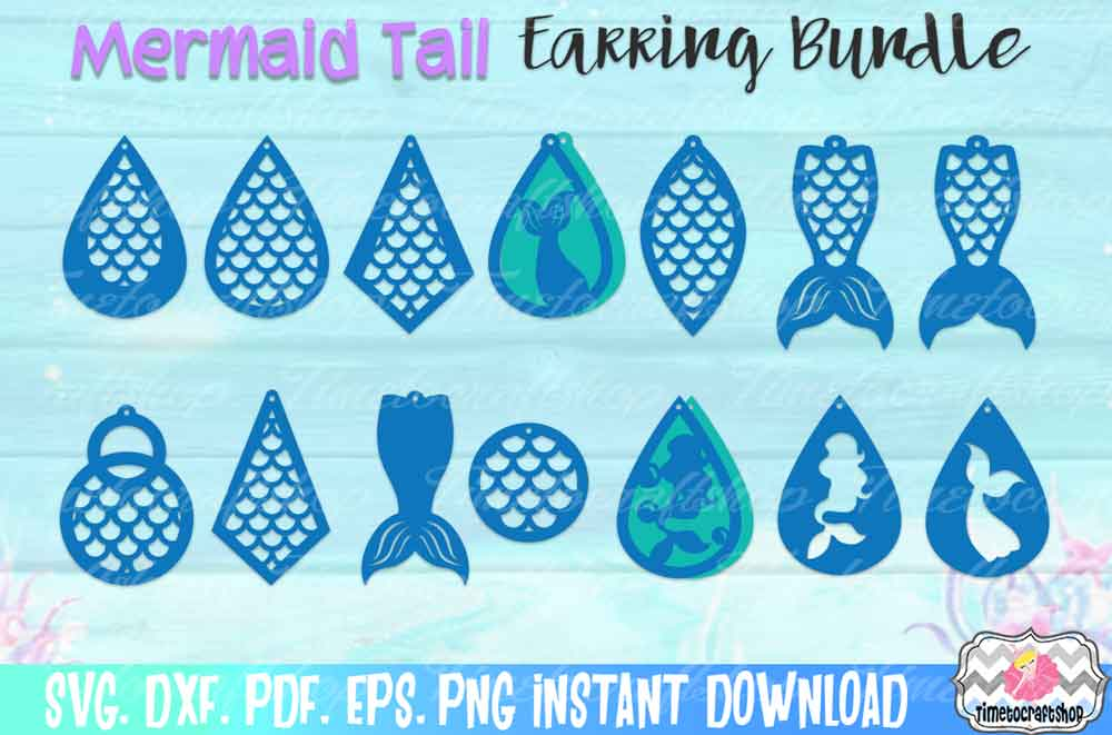 Download Free Mermaid Earring Bundle Graphic By Timetocraftshop Creative Fabrica for Cricut Explore, Silhouette and other cutting machines.