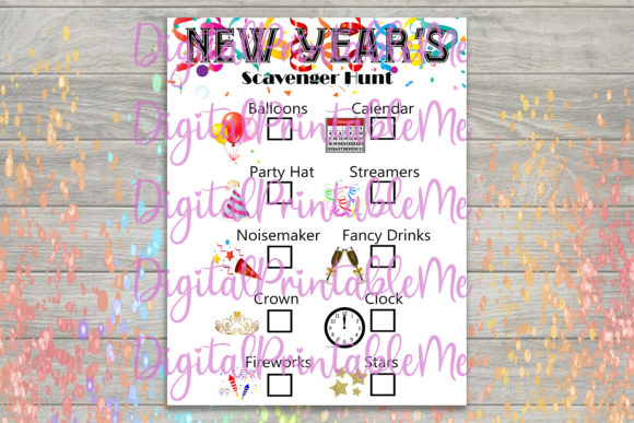 Print on Demand: New Years Scavenger Hunt Kids Game Graphic PreK By DigitalPrintableMe