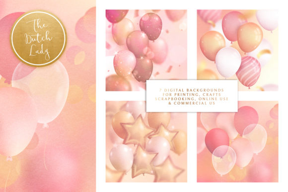 Print on Demand: Party Time & Balloon Backgrounds Graphic Backgrounds By daphnepopuliers - Image 2