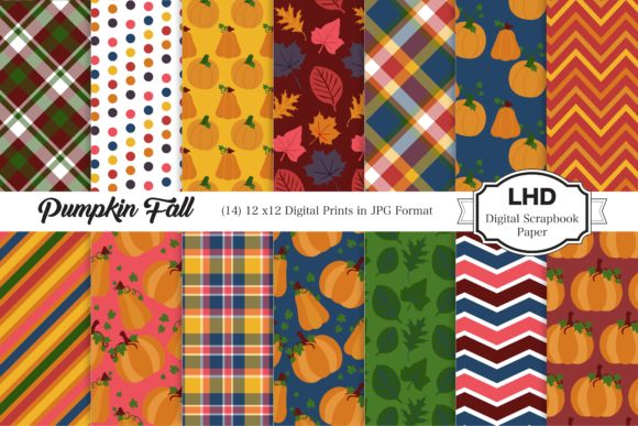 Pumpkin Fall Patterns Digital Papers Graphic Patterns By LeskaHamatyDesign