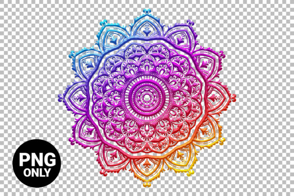 Print on Demand: Rainbow Floral Mandala Sublimation Graphic Print Templates By 99 Siam Vector