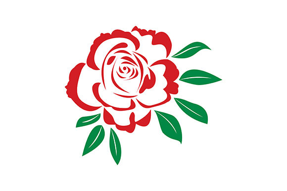 Print on Demand: Red Rose Silhouette Outline Flowers Embroidery Design By EmbArt