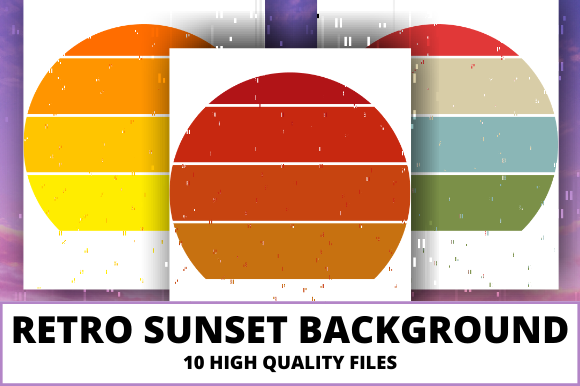 Print on Demand: Retro Sunset Background Clipart Graphic Crafts By atlasart