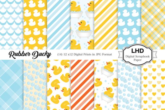 Rubber Ducky Digital Papers Graphic Patterns By LeskaHamatyDesign
