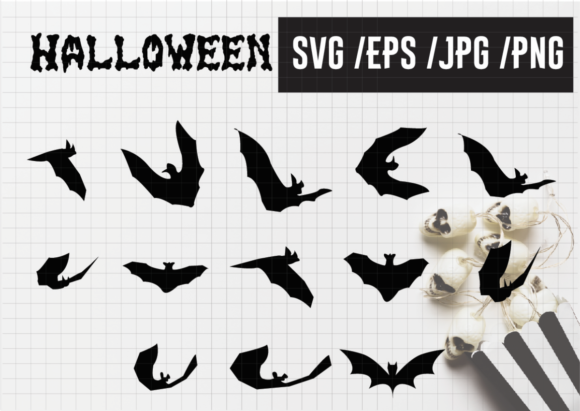 Print on Demand: Vampire Bat Silhouette Halloween Bats Graphic Illustrations By Momixzaa