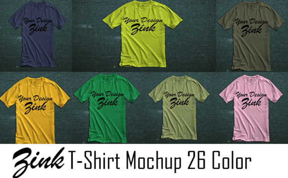 Zink T-Shirt Mockup 26 Colors Graphic Product Mockups By Arf_Studio