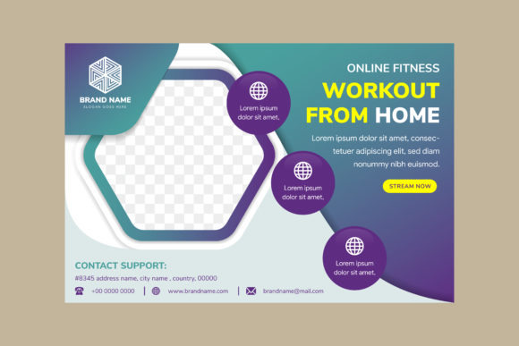 Print on Demand: Online Fitness Horizontal Banner Blue Graphic Print Templates By noory.shopper