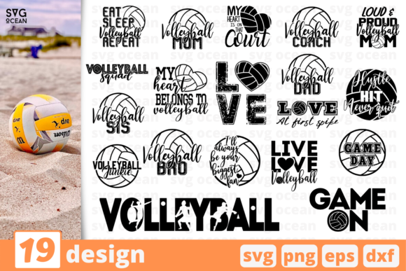 Print on Demand: 19 Volleyball Quotes Bundle Graphic Crafts By SvgOcean