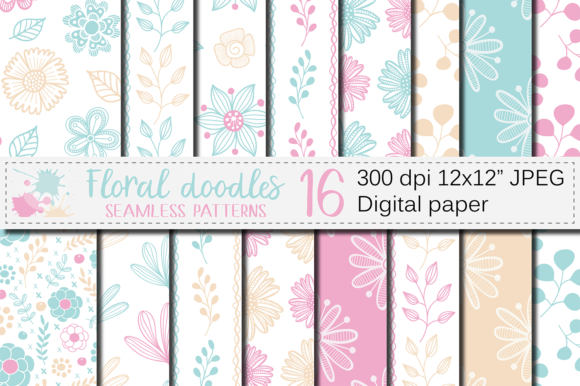Aqua Blue and Pink Floral Digital Paper Graphic Patterns By VR Digital Design