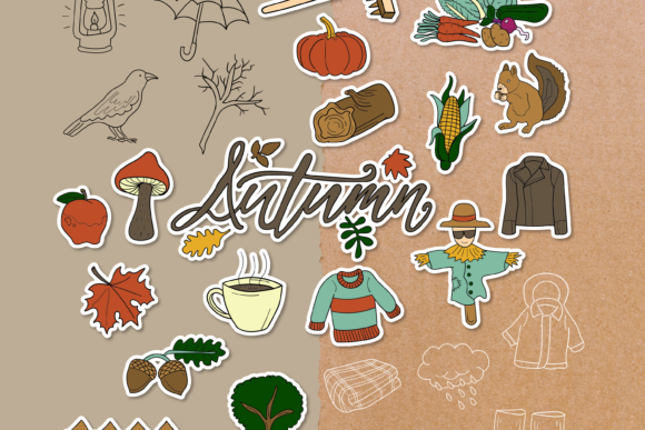 Autumn Doodle Clipart Pack - 4 Styles Graphic Objects By WADLEN