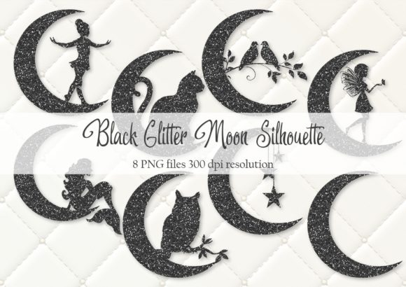 Print on Demand: Black Glitter Moon Silhouette Graphic Objects By Simply Paper Craft
