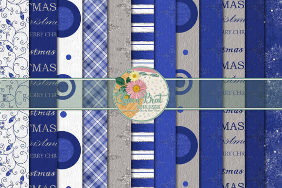 Print on Demand: Blue Christmas Papers Graphic Backgrounds By QueenBrat Digital Designs