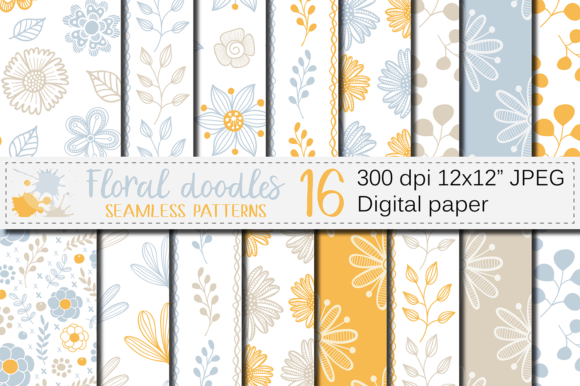 Blue and Orange Floral Digital Paper Graphic Patterns By VR Digital Design