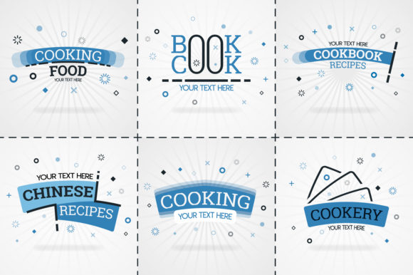 Blue Cooking Book Set for Magazines Graphic Print Templates By setiawanarief111