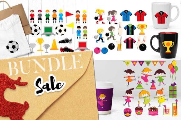 Print on Demand: Bowling Soccer Skating Bundle Graphic Illustrations By Revidevi