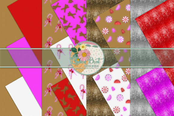 Print on Demand: Candy Christmas Papers Graphic Backgrounds By QueenBrat Digital Designs