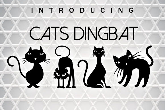 Print on Demand: Cats Dingbats Font By vladimirnikolic