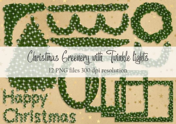Print on Demand: Christmas Greenery with Twinkle Lights Graphic Objects By Simply Paper Craft