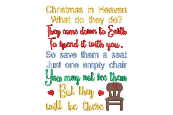 Print on Demand: Christmas in Heaven, Quote Navidad Diseños de bordado Por Embroidery Shelter