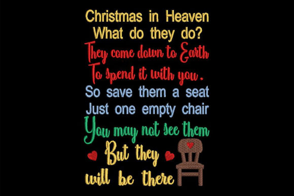 Christmas in Heaven, Quote Embroidery Download